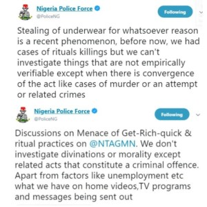 Nigeria Police Reacts To Rampant Reports of Pant Stealing, Says The Force Cannot Investigate Such Reports